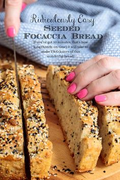 Loaded with healthy seeds and a generous scoop of whole wheat flour, this Ridiculously Easy Seeded Focaccia Bread is also ridiculously delicious! Bread Recipes, Cooking Recipes, Recipes For Soup, Scd Recipes, Cocinas Kitchen, Healthy Seeds, Healthy Food, Artisan Bread, Bread Rolls