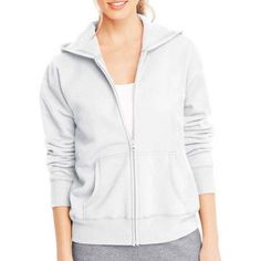 Hanes Women's Fleece Zip Hood Jacket, Size: 2XL, White