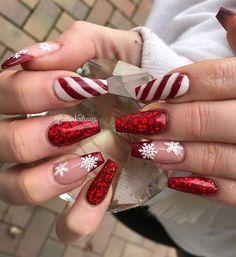 Chistmas Nails, Cute Christmas Nails, Xmas Nails, Red Nails, Snowman Nails, Christmas Acrylic Nails, Halloween Nails, Simple Christmas, Winter Christmas