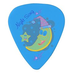 Night Song Sleepy Moon Guitar Pick by MoonDreams Music - Named after one of our lullabies! #guitarpick #musician #sleepymoon #moondreamsmusic #nightsong #lullaby