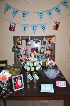 """Great table for engagement party - love that napkin also """"does this ring make me look engaged?"""""""