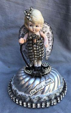 Altered Art Vintage Bisque Frozen Charlotte Doll I'VE FOUND A FRIEND Scottie #67 #Unbranded