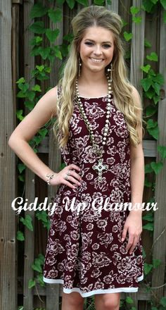At This Moment Maroon and Ivory Floral Dress -- $29.95
