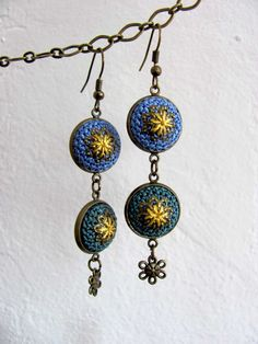 Teal green , blue, yellow handmade crochet silk earrings // romantic bohemian spring flowers // fiber jewelry // unique original design