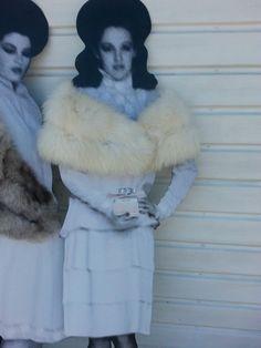 16a3fab3029a1 WINTER WEDDING WHITE SHADOW FOX FUR STOLE CAPE Vtg LONG HAIR SHAWL WRAP  BOLERO M