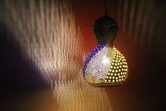 Handmade Calabash Gourd lamp, hanging lamp, Colorfull lamp, Handmade lamp, decorative lamp, night lamp, office lamp by Tribalarthome on Etsy