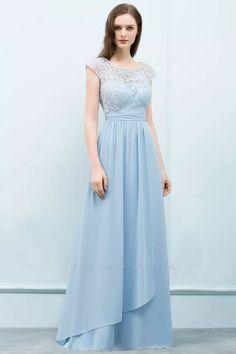 A-line Lace Scoop Cap Sleeves Floor-Length Bridesmaid Dresses   Yesbabyonline.com