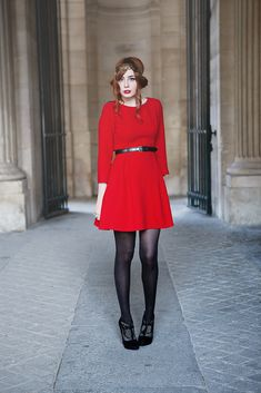 Red dress black shoes 10
