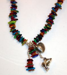 Sea Creatures and MultiColor Chip Beads Necklace  by GlorysCloset, $12.00