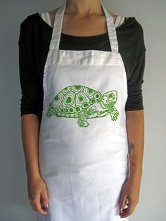 Screen Printed Cotton Apron  Natural Cotton by ohlittlerabbit, $15.00