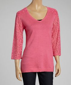 Another great find on #zulily! Lipstick Lace-Sleeve Linen-Blend Top by Avalin #zulilyfinds