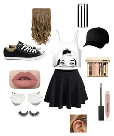 """""""The cuties outfit EVER!!!"""" by aracelyviramontes ❤ liked on Polyvore featuring WithChic, Converse, Burberry, Flexfit and Victoria Beckham"""