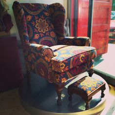 Queen Anne style winged armchair and matching footstool re-upholstered in Sanderson Samarkand Indigo by Ray Clarke #Sanderson#Samarkand#Indigo#winged#armchair