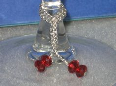 Chain and Crystal Wine Charms Set of 6 by rockmybeads on Etsy, $10.50