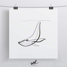 Whale Art Print Minimal Art Whale Drawing Linear Art