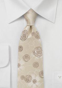 Krawatte Rosen-Dessin sandfarben
