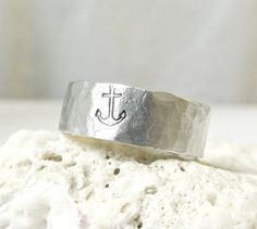 Anchor Ring Hammered Silver Band Ring by EagleRowe on Etsy, $19.50. I need to figure out my ring size...again.