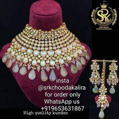 Bridal Jewelry Sets, Bridal Sets, Punjabi Traditional Jewellery, Kundan Jewellery Set, Bridal Chura, Brass Jewelry, My Etsy Shop, Check, Handmade