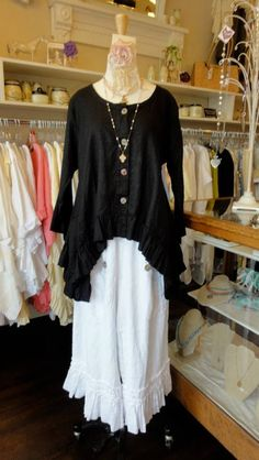 "Linen Butterfly Jacket in ""Black"" by Hearts Desire. Shown over the linen Bo Peep Pant in ""White"".     fb.com/mimibellafinelinenwear"