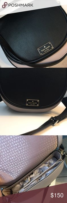 Kate Spade Purse Cross body Black and grey/tan Kate Spade cross bossy purse, never been used still has tag on it. kate spade Bags Crossbody Bags