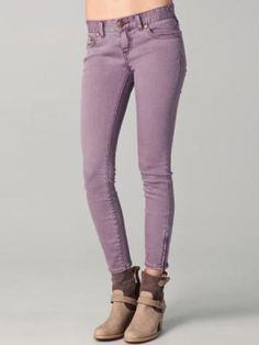 Candy-colored Light-purple cropped jeans