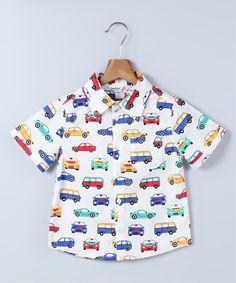 White & Blue Car Button-Up - Infant Toddler & Boys