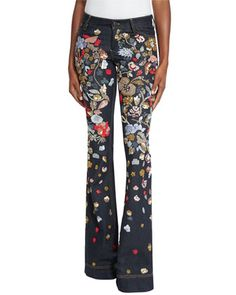 Ryley+Embroidered+Low-Rise+Bell-Bottom+Jeans+by+Alice+++Olivia+at+Neiman+Marcus.