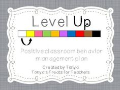 "This is a new way to encourage positive behavior in your class.    Students start out on a white card. Every time they show positive behavior they get a sticker. Once they have 10 stickers they can ""Level Up"" to a new color card and also earn a prize.    There are 10 different colored levels.    Step by step directions are included. Perhaps adaptable for chores/ saving for something."