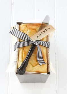 Make a pound cake and wrap with ribbon and pretty knife. Great gift idea.