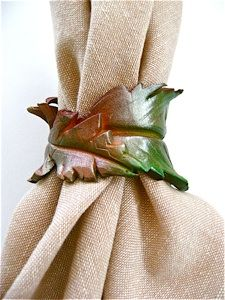clay-leaf-napkin-ring -- Another beautiful project from DivaonLine