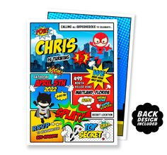 Comic Book Birthday Invitation, Printable and Personalized Party Invitation, Superhero Party Invite Superhero Party Invitations, Printable Birthday Invitations, Thank You Card Size, Free Thank You Cards, You Are My Superhero, Special Birthday, Creative Gifts, Etsy Handmade, Etsy Seller