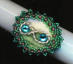 Beadwoven Beaded Infinity Ring . Emerald Green . by enchantedbeads, $29.00