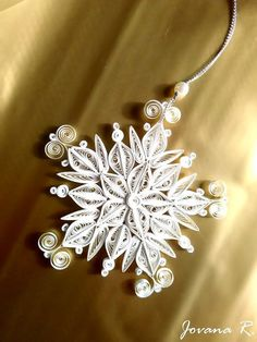 Quilling snowflake ornament with gift box/Home decor/
