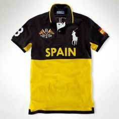 Fashion-Ralph-Lauren-Big-Pony-SPAIN-Flag-Black-