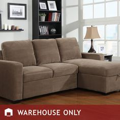 My new couch for the den has many great features. Storage and a pull out bed.  Costco: Newton Chaise Sofa Bed