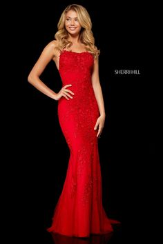 Sherri Hill 52338 is magical! Sherri Hill uses exquisite lace with an open back fitted bodice. Sherri Hill Red Dress, Sherri Hill Prom Dresses, Prom Dress Stores, Pageant Dresses, Homecoming Dresses, Dress Prom, Dress Formal, Prom Gowns, Red Lace Prom Dress