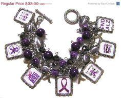 Alzheimers Awareness Altered Art Charm Bracelet Purple