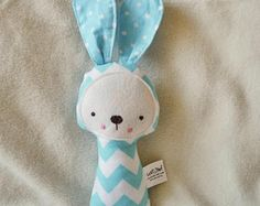Soft Baby Rattle Bunny fabric Ratlle Bunny Rattle Soft Toy Softie Baby shower gift Stuffed Toy Handmade Gender Neutral Unisex Fabric Rattle