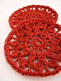 Set of 2 washable crocheted round coasters in RED by CasaDiAries, via Flickr