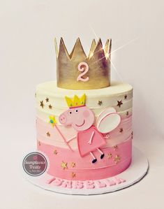 3rd Birthday Cakes For Girls, Peppa Pig Birthday Cake, Smash Cake Girl, Girl Cakes, Tortas Peppa Pig, Peppa Pig Cookie, Buttercream Birthday Cake, Pig Cookies, Pig Party