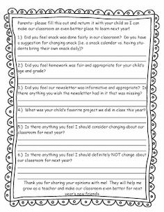 End of the Year Parent Survey Freebie!