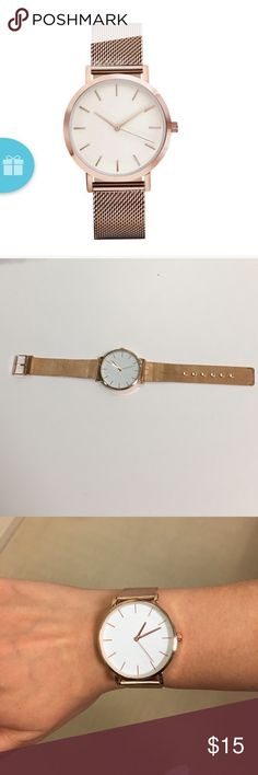 """Rose gold watch Cute men's style watch with rose gold metal band.  Large, simple white face that is 1.5"""" in diameter. Accessories Watches"""