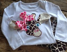 Adorable Long Sleeve Giraffe Shirt and Ruffle Pants by bebelambs, $44.99
