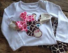 Adorable Long Sleeve Giraffe Shirt and Ruffle Pants by bebelambs, $44.99