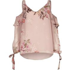 River Island Pink floral cold shoulder split sleeve top ($60) ❤ liked on Polyvore featuring tops, blouses, pink, women, chiffon tops, pink chiffon top, tall tops, cut-out shoulder tops and flounce tops