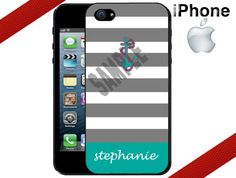 iPhone Case  Grey Stripes Teal Anchor by CrazianDesigns on Etsy, $15.99