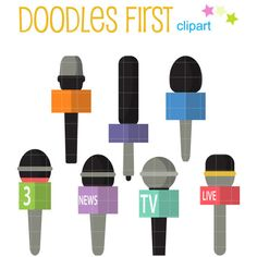 This clipart set includes the 8 following elements. 7 x Microphones Each clipart illustration is included separately as a high resolution PNG file with a transparent background, a JPG with a white background and as a SVG file. Each object is provided at a sizes of 5.5 Inches on its