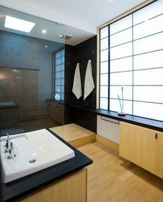 What about a simple in cabinet sink with a bit of space around the sides and perhaps a narrow banjo ledge running along the wall like here opposite the sink. Might make the bathroom seem much larger. (18 Stylish Japanese Bathroom Design Ideas)