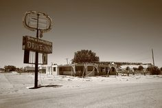 Route 66 - An abandoned drive-in restaurant on old Rt. 66 in... Road 66, Route 66 Road Trip, Travel Route, Us Road Trip, Old Route 66, Historic Route 66, Old Abandoned Buildings, Abandoned Places, Drive In Theater