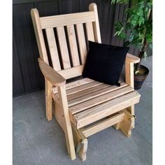 A U0026 L Furniture Yellow Pine Traditional English 2 Ft. Outdoor Glider Chair  Unfinished